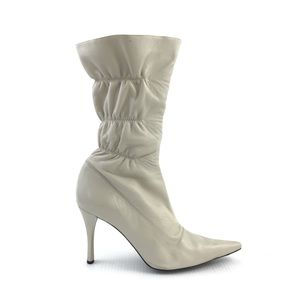 NINE WEST Leather Mid Calf Ivory Beige Boots